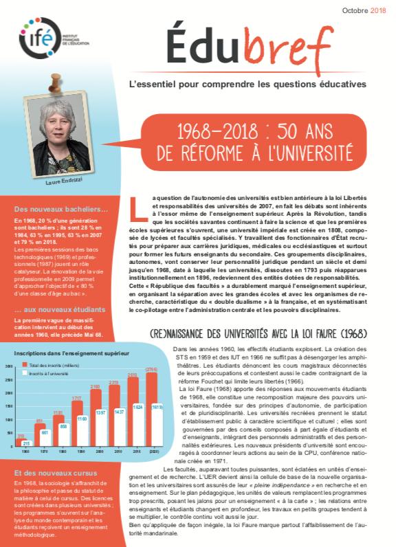 """télécharger édubref """"1968-2018 : 50 ans de réforme à l'université"""""""